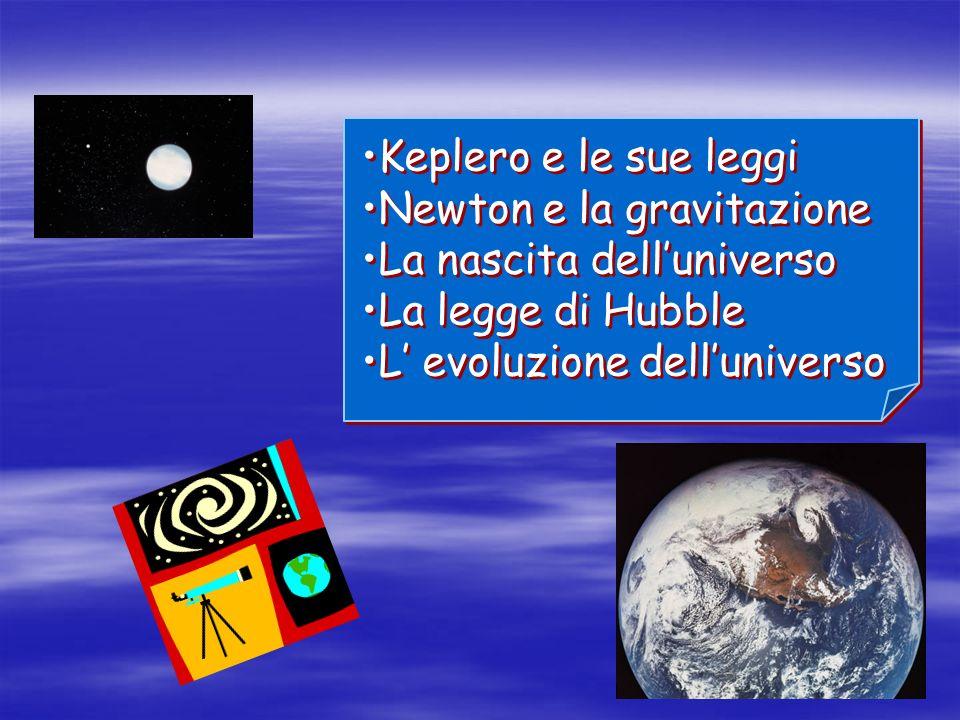 Keplero e le sue leggi Newton e la gravitazione La nascita delluniverso La legge di Hubble L evoluzione delluniverso Keplero e le sue leggi Newton e l