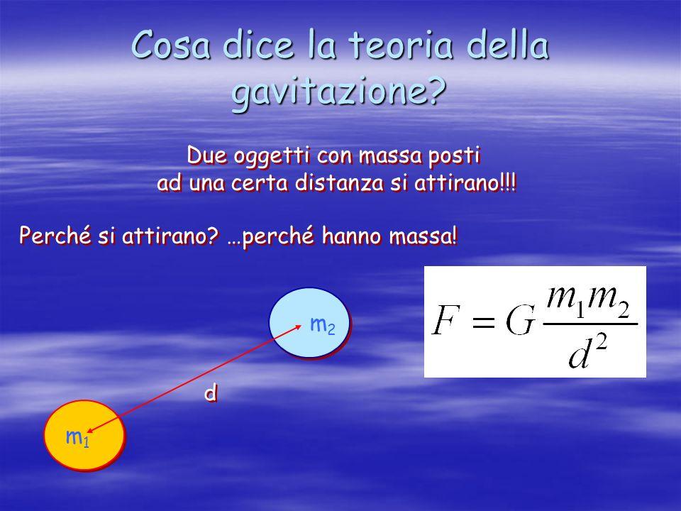 Cosa dice la teoria della gavitazione? Due oggetti con massa posti ad una certa distanza si attirano!!! Due oggetti con massa posti ad una certa dista