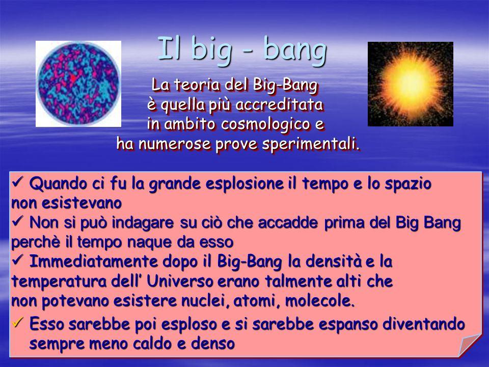Il big - bang La teoria del Big-Bang è quella più accreditata in ambito cosmologico e ha numerose prove sperimentali. La teoria del Big-Bang è quella