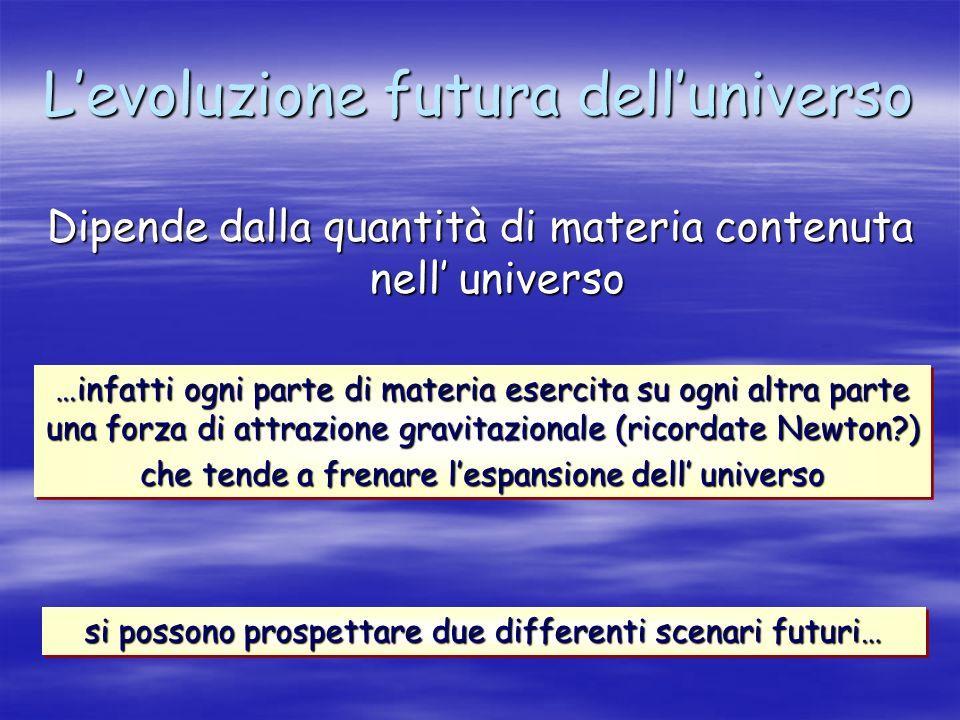 Levoluzione futura delluniverso Dipende dalla quantità di materia contenuta nell universo …infatti ogni parte di materia esercita su ogni altra parte