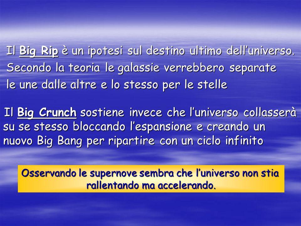 Il Big Crunch sostiene invece che luniverso collasserà su se stesso bloccando lespansione e creando un nuovo Big Bang per ripartire con un ciclo infin