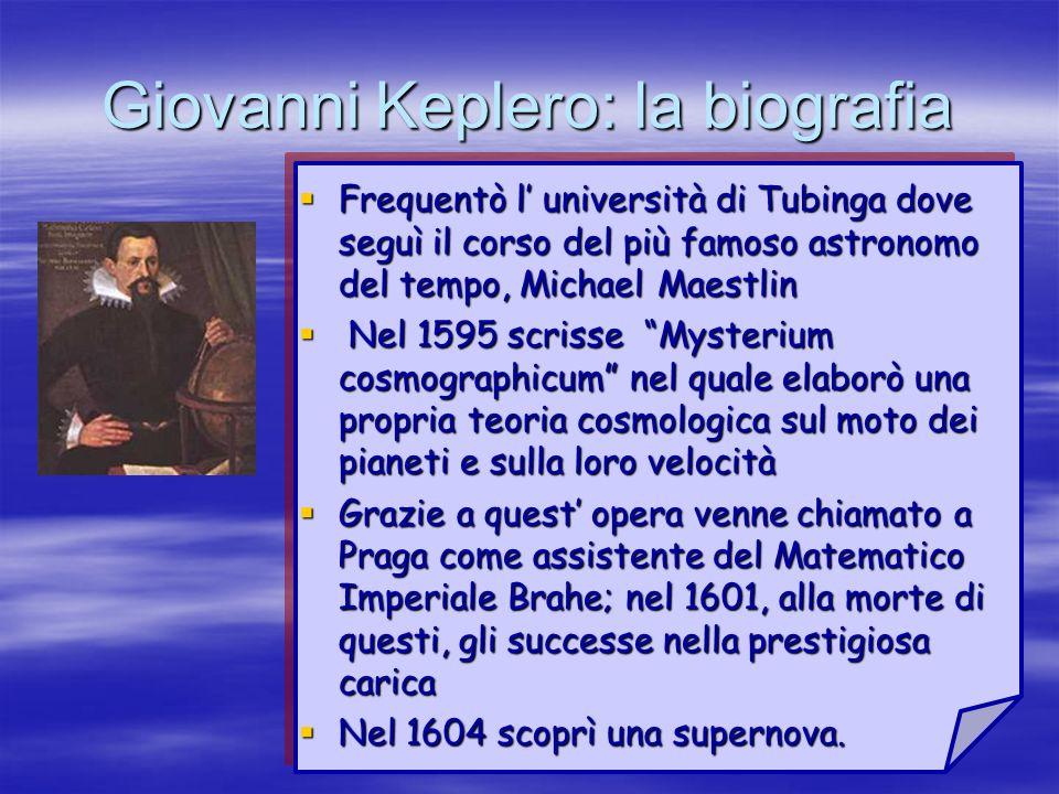 Giovanni Keplero: la biografia Frequentò l università di Tubinga dove seguì il corso del più famoso astronomo del tempo, Michael Maestlin Frequentò l