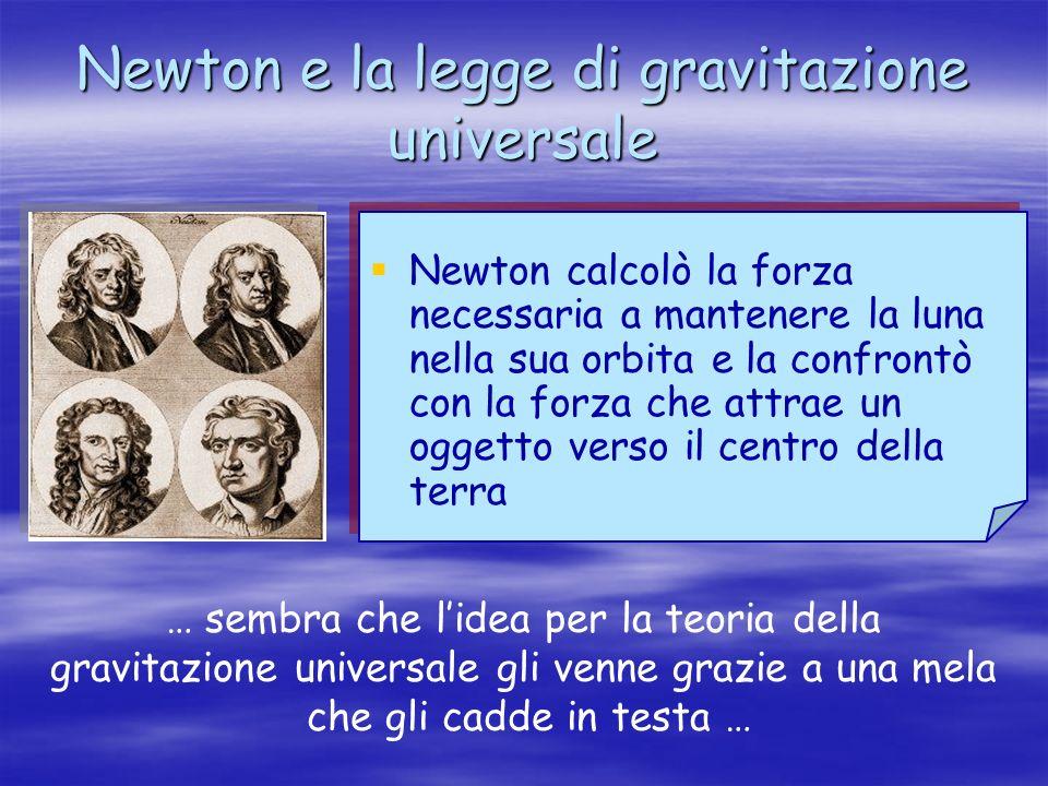 Newton e la legge di gravitazione universale Newton calcolò la forza necessaria a mantenere la luna nella sua orbita e la confrontò con la forza che a