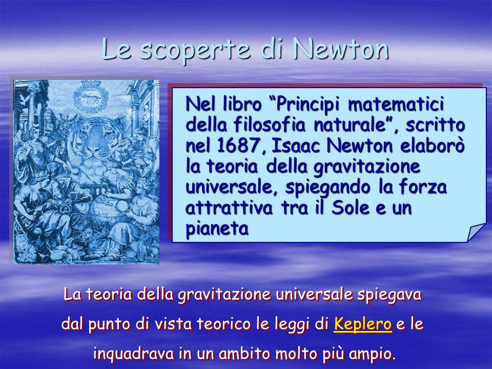 Le scoperte di Newton Nel libro Principi matematici della filosofia naturale, scritto nel 1687, Isaac Newton elaborò la teoria della gravitazione univ
