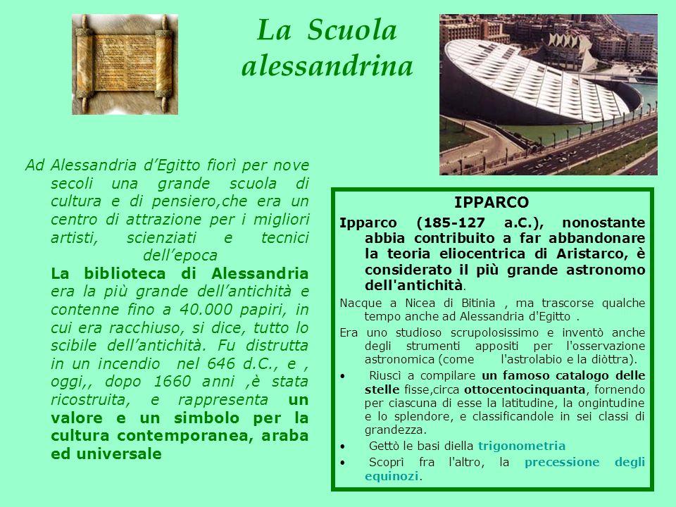 La Scuola alessandrina IPPARCO Ipparco (185-127 a.C.), nonostante abbia contribuito a far abbandonare la teoria eliocentrica di Aristarco, è considera