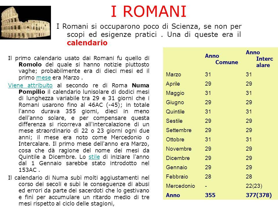 Il primo calendario usato dai Romani fu quello di Romolo del quale si hanno notizie piuttosto vaghe; probabilmente era di dieci mesi ed il primo mese