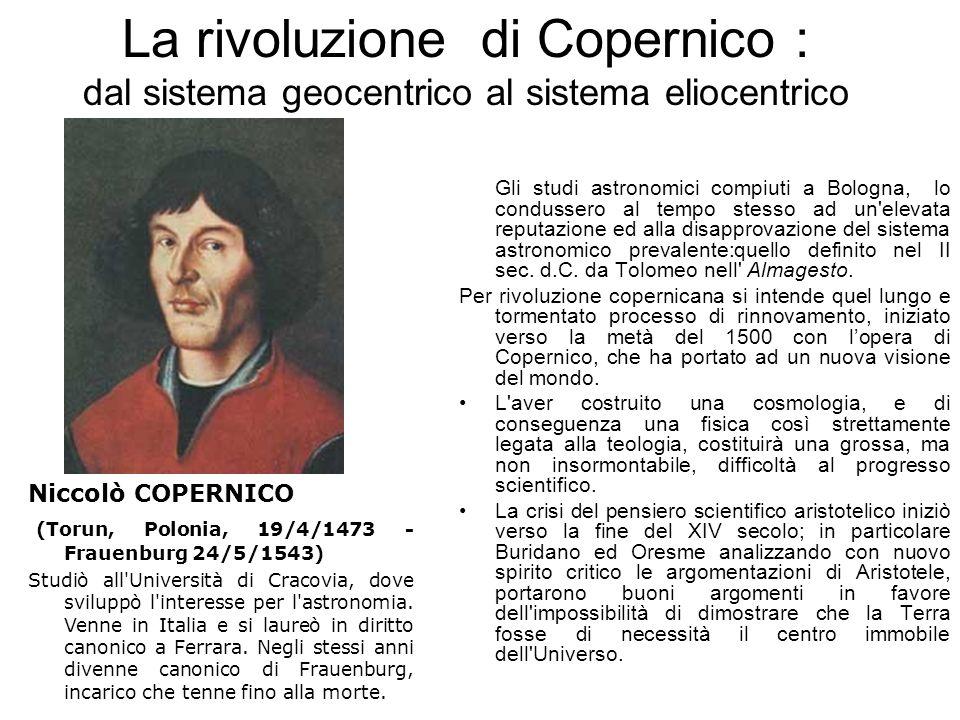 La rivoluzione di Copernico : dal sistema geocentrico al sistema eliocentrico Gli studi astronomici compiuti a Bologna, lo condussero al tempo stesso