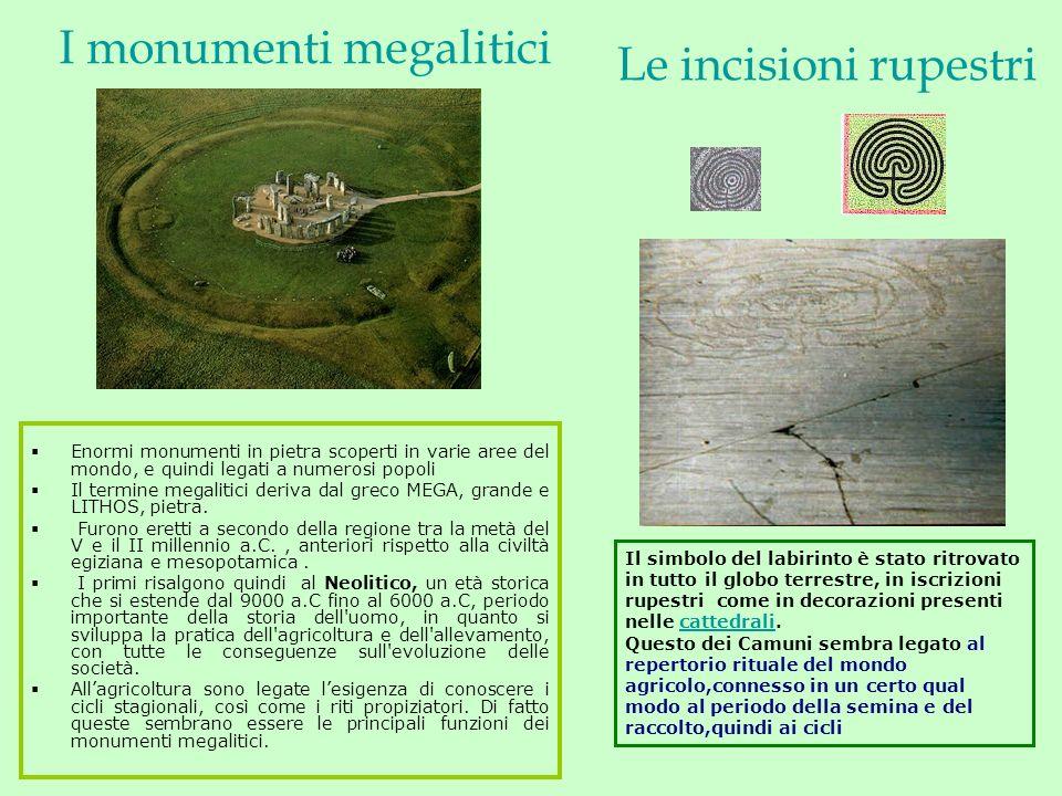I monumenti megalitici Enormi monumenti in pietra scoperti in varie aree del mondo, e quindi legati a numerosi popoli Il termine megalitici deriva dal