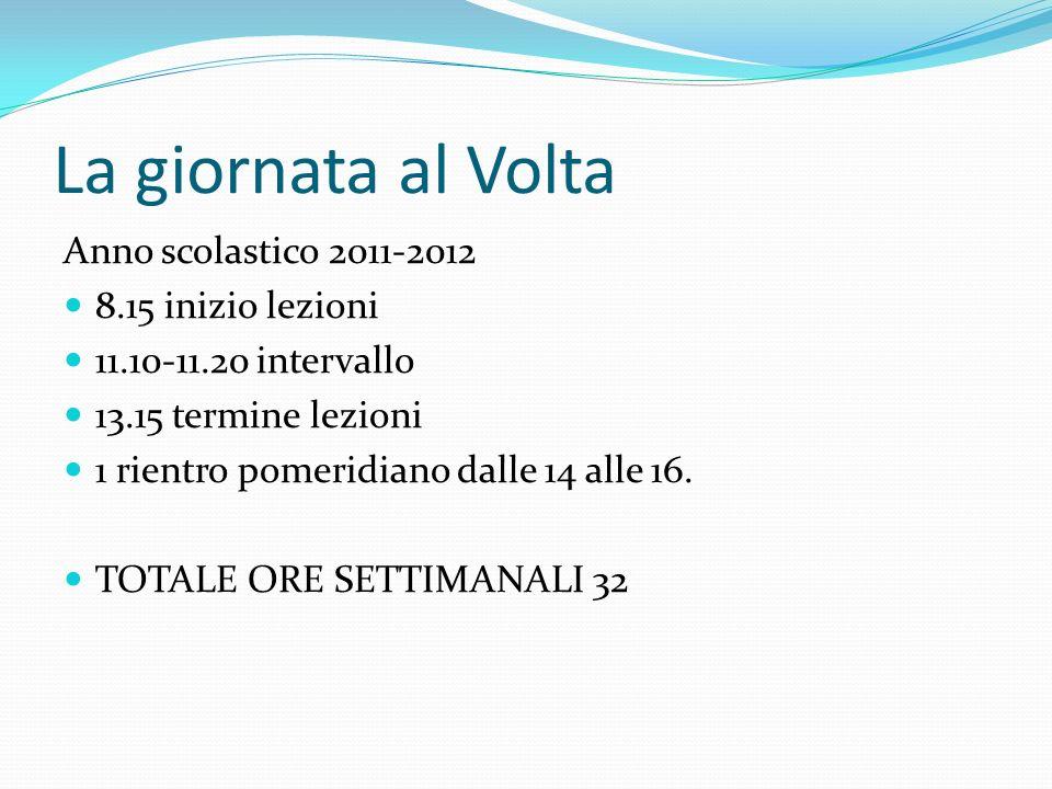La giornata al Volta Anno scolastico 2011-2012 8.15 inizio lezioni 11.10-11.20 intervallo 13.15 termine lezioni 1 rientro pomeridiano dalle 14 alle 16