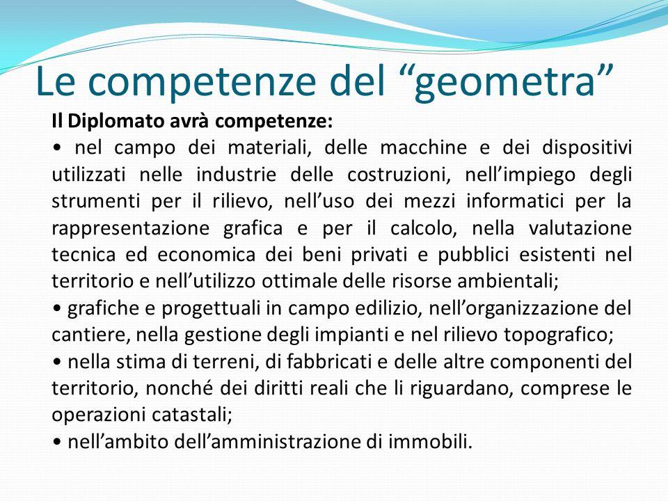 Le competenze del geometra Il Diplomato avrà competenze: nel campo dei materiali, delle macchine e dei dispositivi utilizzati nelle industrie delle co