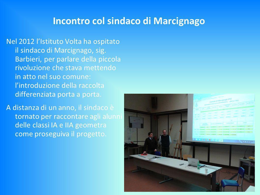 Incontro col sindaco di Marcignago Nel 2012 lIstituto Volta ha ospitato il sindaco di Marcignago, sig.