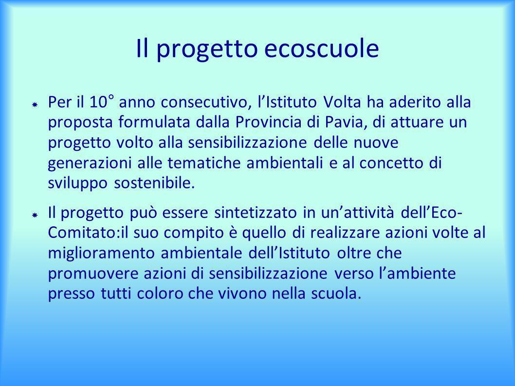 Il progetto ecoscuole Per il 10° anno consecutivo, lIstituto Volta ha aderito alla proposta formulata dalla Provincia di Pavia, di attuare un progetto volto alla sensibilizzazione delle nuove generazioni alle tematiche ambientali e al concetto di sviluppo sostenibile.
