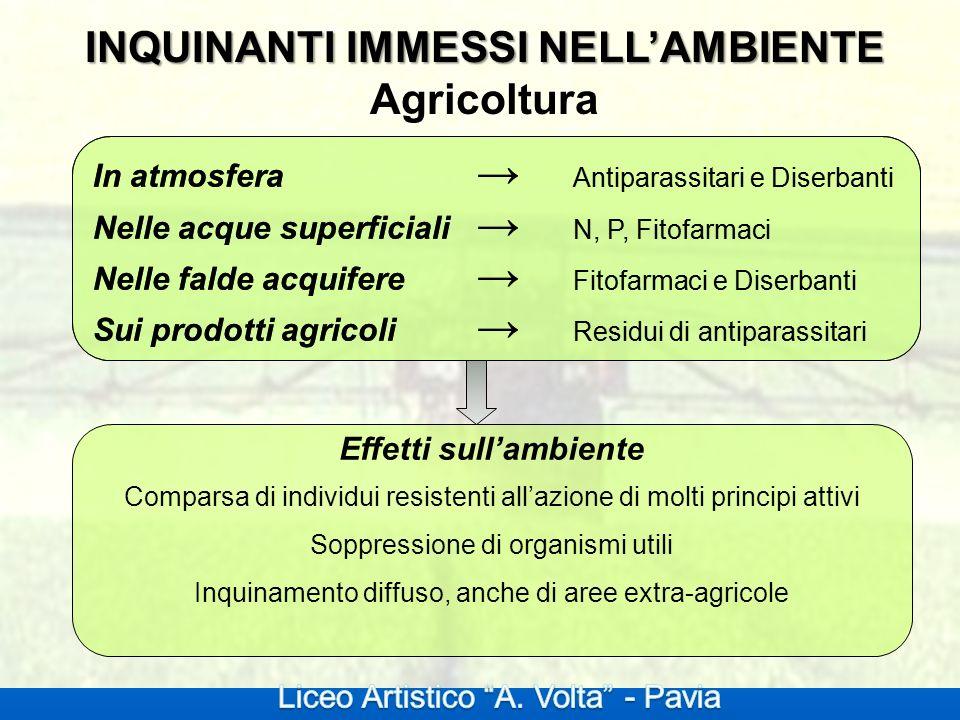 INQUINANTI IMMESSI NELLAMBIENTE INQUINANTI IMMESSI NELLAMBIENTE Agricoltura In atmosfera Antiparassitari e Diserbanti Nelle acque superficiali N, P, F