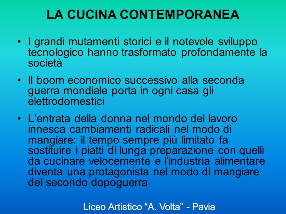 LA CUCINA CONTEMPORANEA I grandi mutamenti storici e il notevole sviluppo tecnologico hanno trasformato profondamente la società Il boom economico suc