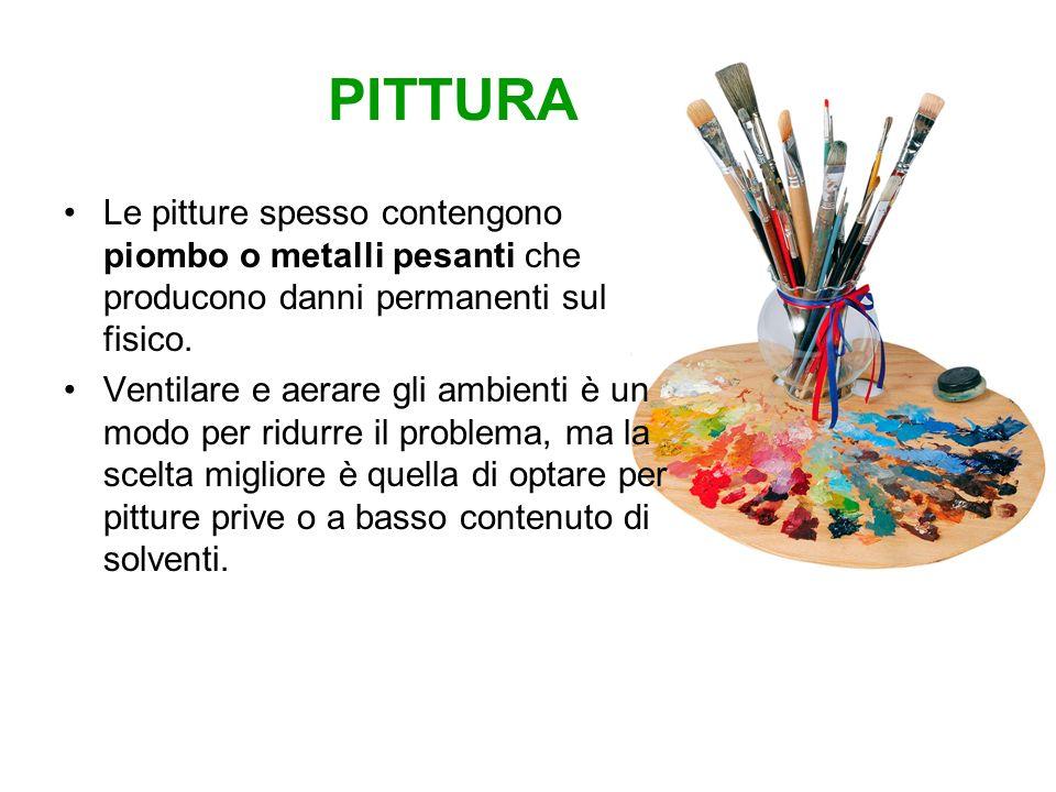 PITTURA Le pitture spesso contengono piombo o metalli pesanti che producono danni permanenti sul fisico. Ventilare e aerare gli ambienti è un modo per