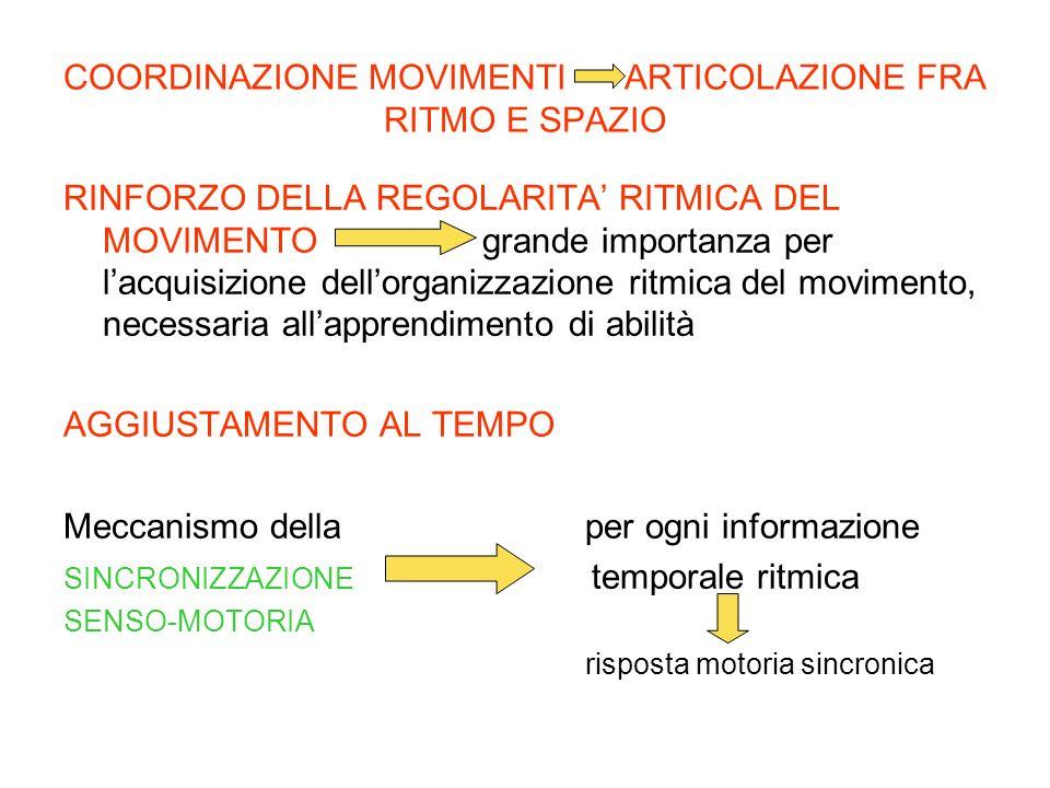COORDINAZIONE MOVIMENTI ARTICOLAZIONE FRA RITMO E SPAZIO RINFORZO DELLA REGOLARITA RITMICA DEL MOVIMENTO grande importanza per lacquisizione dellorgan