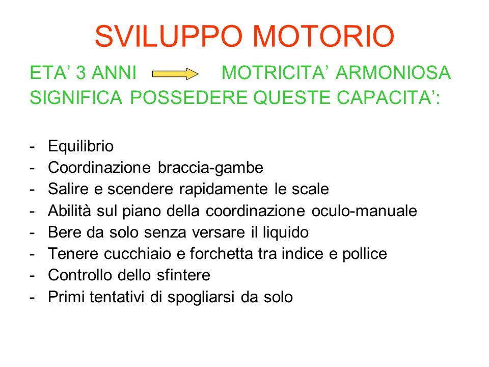 SVILUPPO MOTORIO ETA 3 ANNI MOTRICITA ARMONIOSA SIGNIFICA POSSEDERE QUESTE CAPACITA: -Equilibrio -Coordinazione braccia-gambe -Salire e scendere rapid