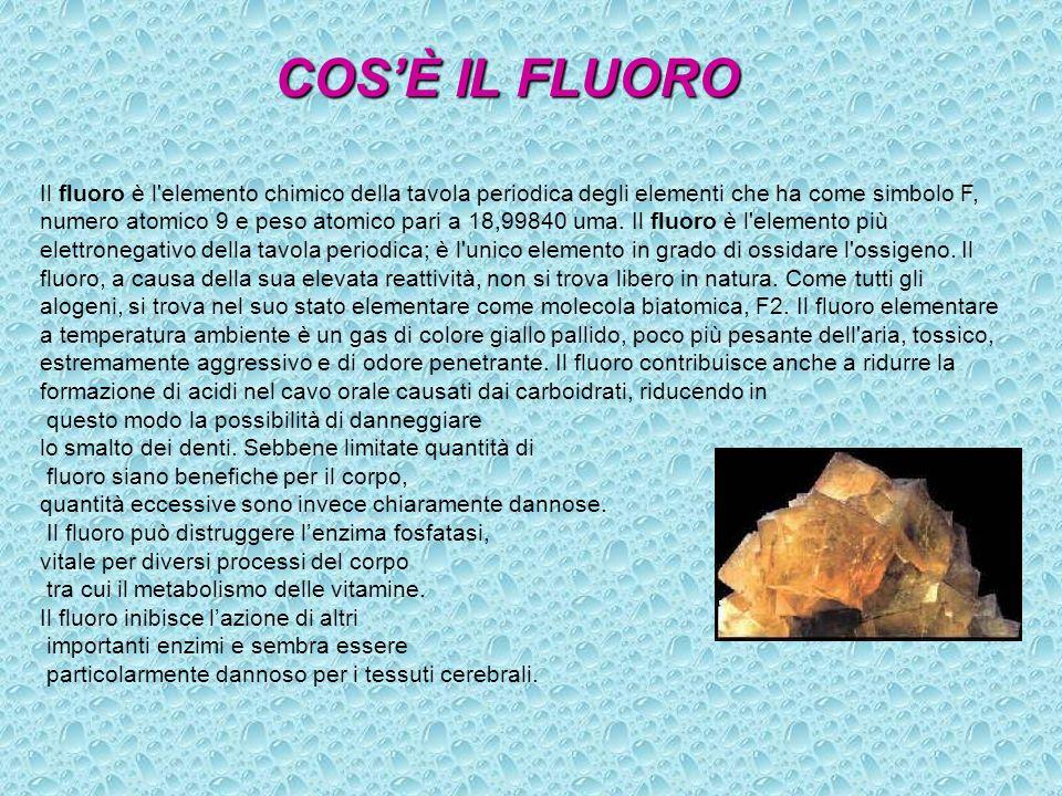 COSÈ IL FLUORO Il fluoro è l'elemento chimico della tavola periodica degli elementi che ha come simbolo F, numero atomico 9 e peso atomico pari a 18,9