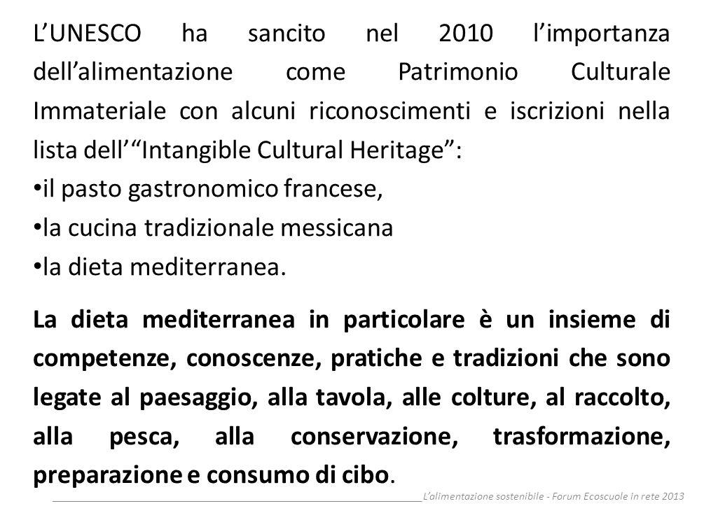 __________________________________________________________________Lalimentazione sostenibile - Forum Ecoscuole in rete 2013 LUNESCO ha sancito nel 201