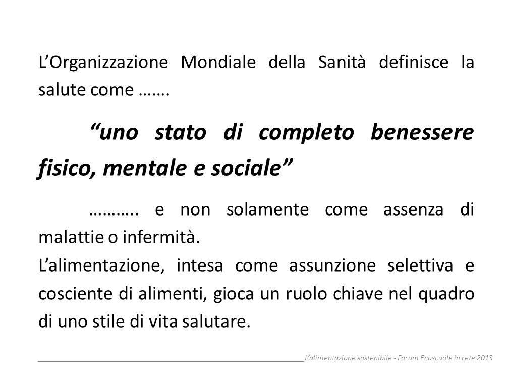 __________________________________________________________________Lalimentazione sostenibile - Forum Ecoscuole in rete 2013 LOrganizzazione Mondiale d