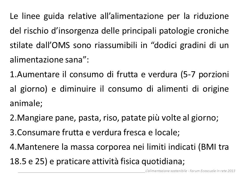 __________________________________________________________________Lalimentazione sostenibile - Forum Ecoscuole in rete 2013 Le linee guida relative al