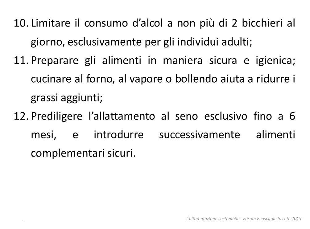 __________________________________________________________________Lalimentazione sostenibile - Forum Ecoscuole in rete 2013 10.Limitare il consumo dal