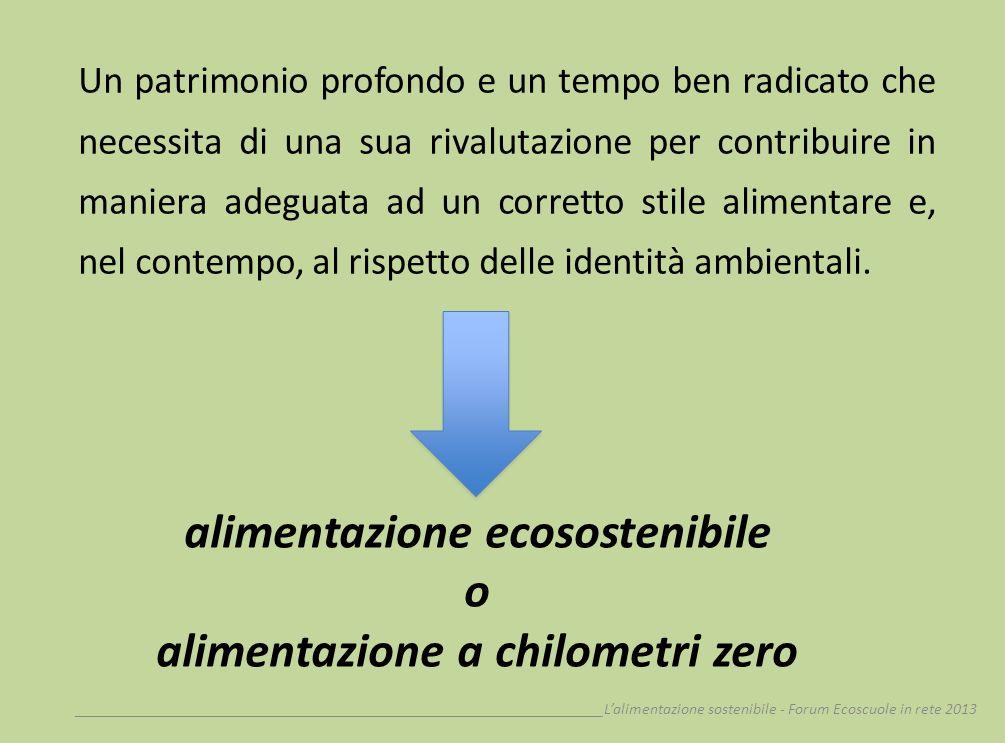 __________________________________________________________________Lalimentazione sostenibile - Forum Ecoscuole in rete 2013 mutuata dallanglosassone food miles definisce quella categoria di alimenti per la quale si accorcia o elimina la distanza tra agricoltore/produttore e consumatore, con riduzione della produzione di anidride carbonica (CO 2 ) e del costo finale.