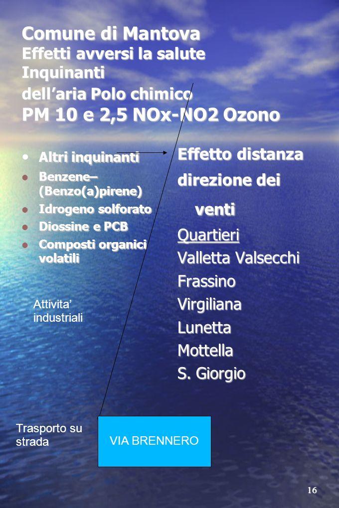 16 Comune di Mantova Effetti avversi la salute Inquinanti dellaria Polo chimico PM 10 e 2,5 NOx-NO2 Ozono Altri inquinanti Altri inquinanti Benzene– (