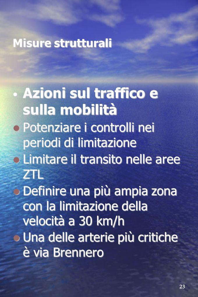 23 Misure strutturali Azioni sul traffico e sulla mobilità Azioni sul traffico e sulla mobilità Potenziare i controlli nei periodi di limitazione Pote