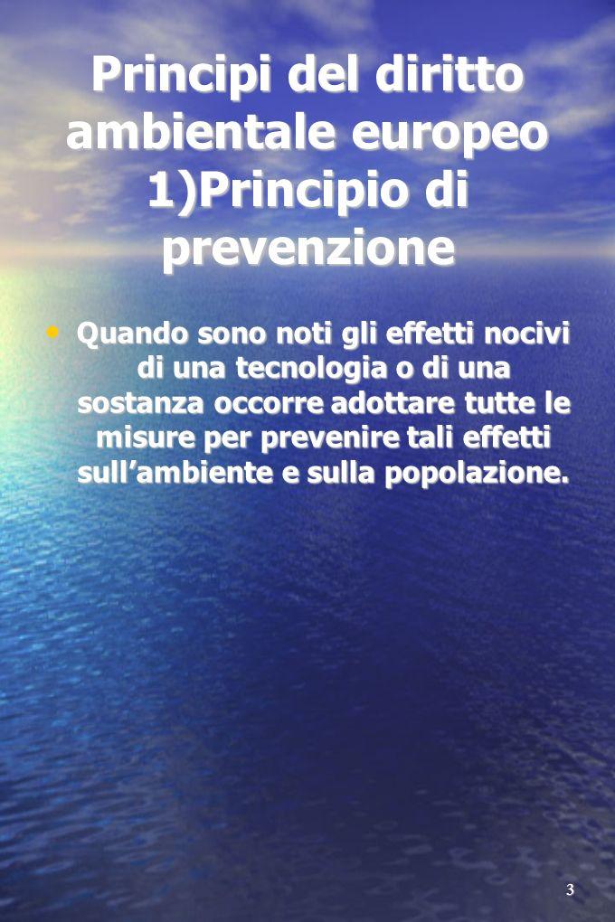 3 Principi del diritto ambientale europeo 1)Principio di prevenzione Quando sono noti gli effetti nocivi di una tecnologia o di una sostanza occorre adottare tutte le misure per prevenire tali effetti sullambiente e sulla popolazione.
