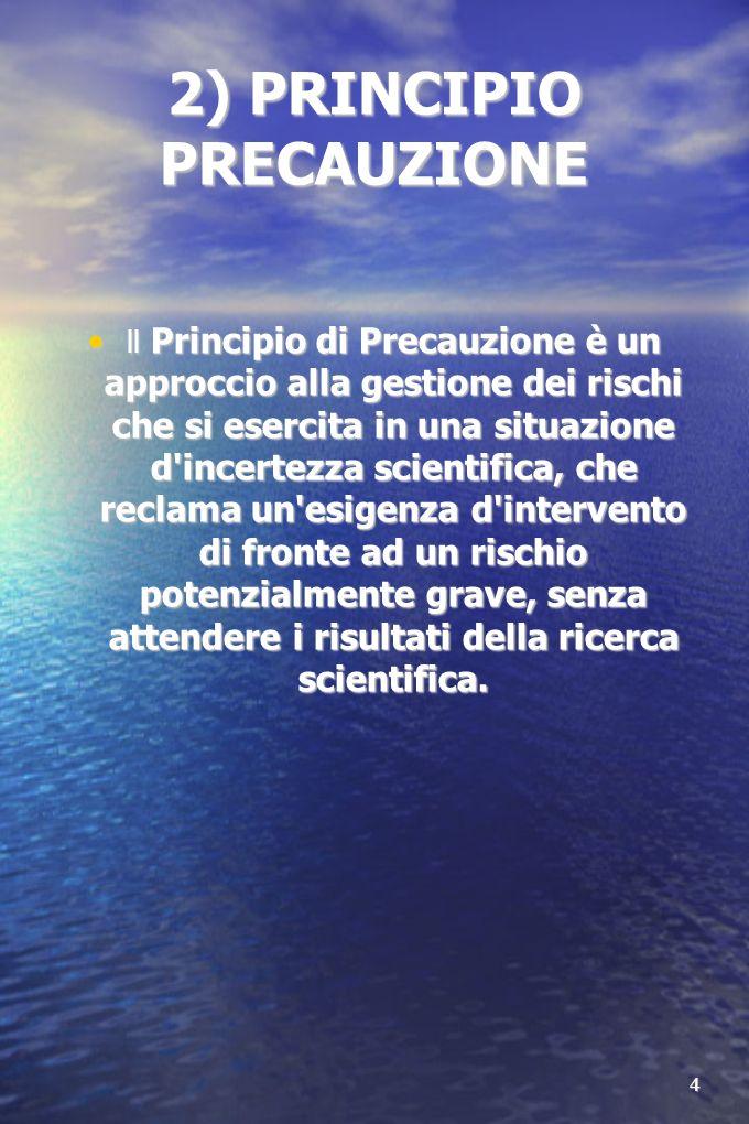 4 2) PRINCIPIO PRECAUZIONE ll Principio di Precauzione è un approccio alla gestione dei rischi che si esercita in una situazione d incertezza scientifica, che reclama un esigenza d intervento di fronte ad un rischio potenzialmente grave, senza attendere i risultati della ricerca scientifica.