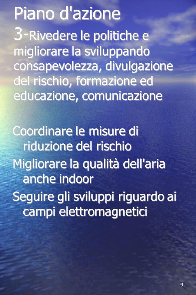 9 Piano d'azione 3- Rivedere le politiche e migliorare la sviluppando consapevolezza, divulgazione del rischio, formazione ed educazione, comunicazion