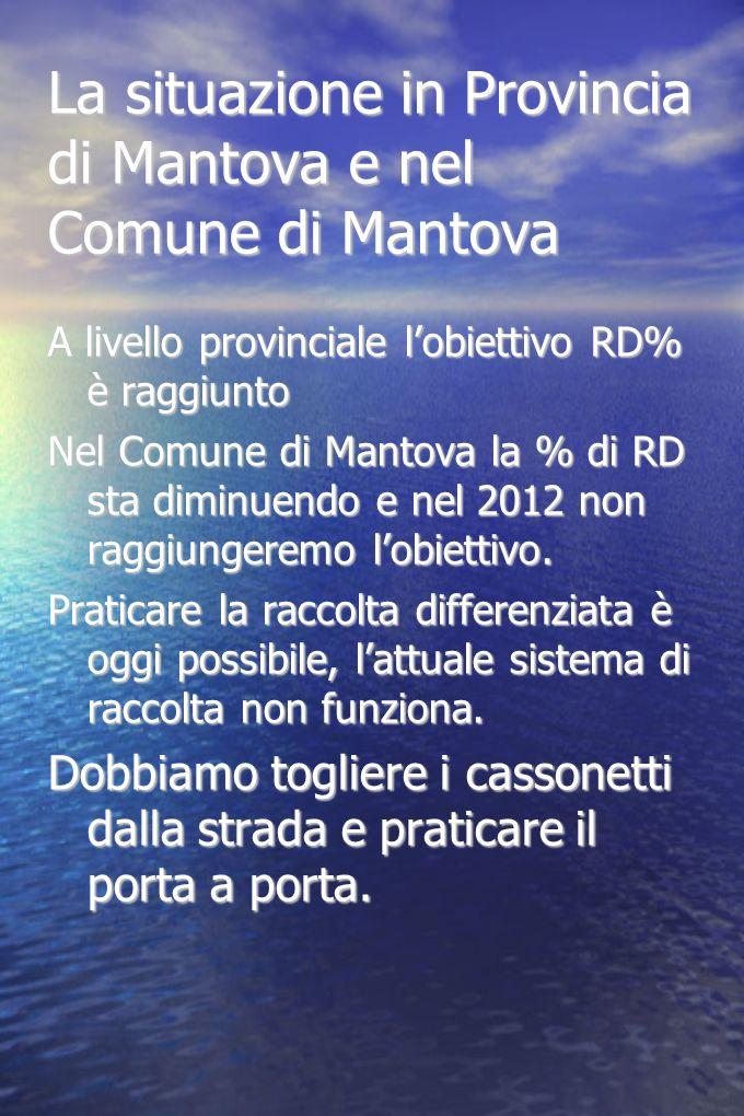 La situazione in Provincia di Mantova e nel Comune di Mantova A livello provinciale lobiettivo RD% è raggiunto Nel Comune di Mantova la % di RD sta di