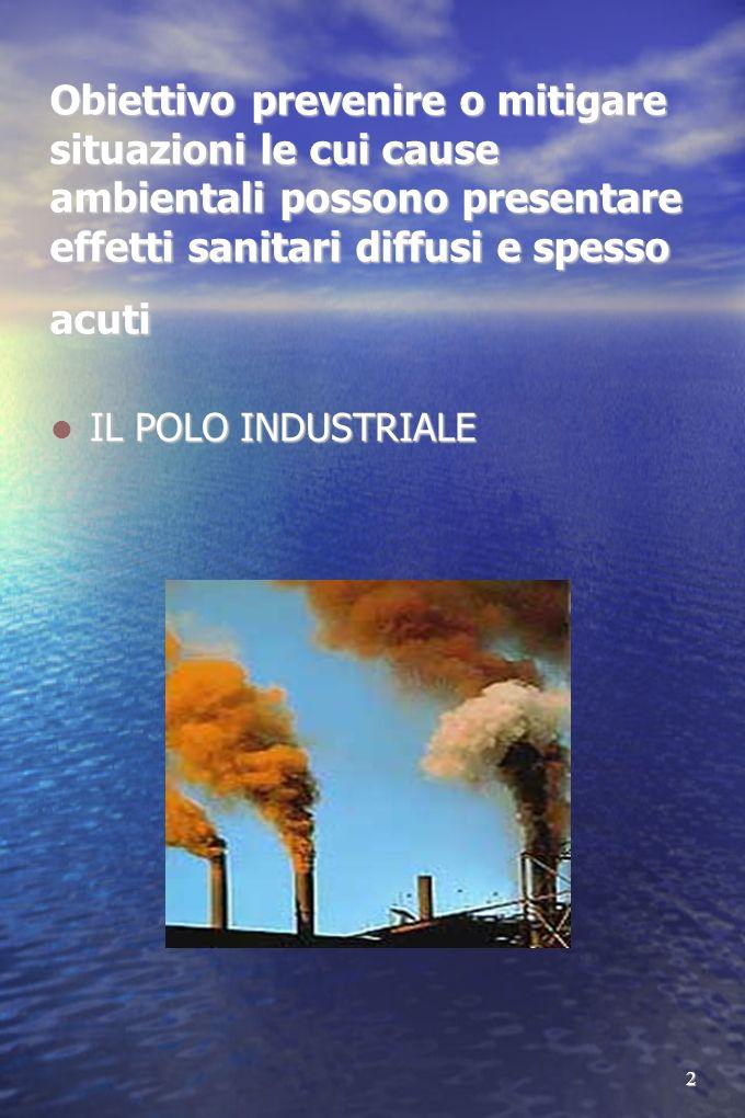 2 Obiettivo prevenire o mitigare situazioni le cui cause ambientali possono presentare effetti sanitari diffusi e spesso acuti IL POLO INDUSTRIALE IL