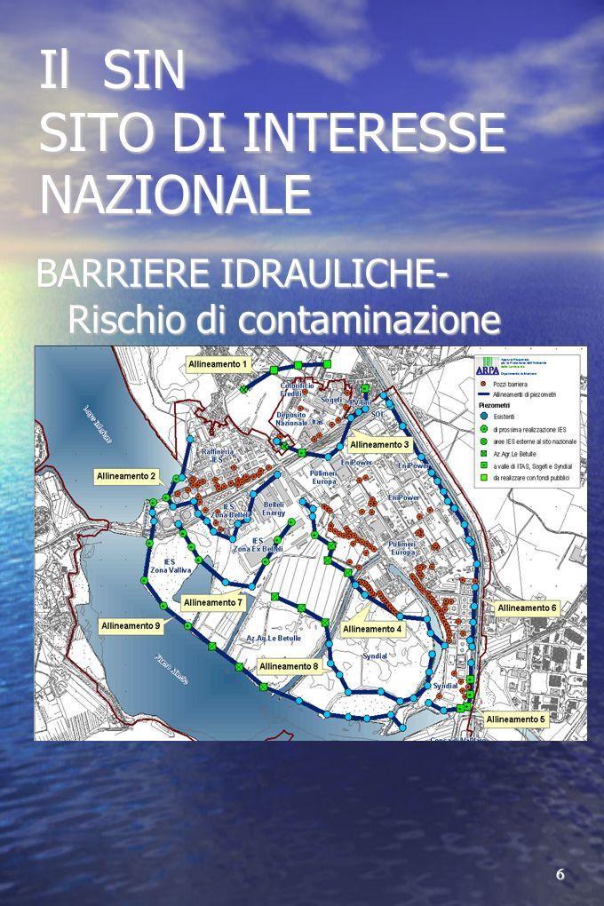 6 Il SIN SITO DI INTERESSE NAZIONALE BARRIERE IDRAULICHE- Rischio di contaminazione acque superficiali