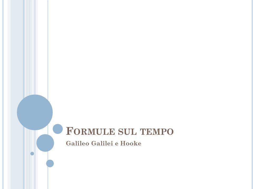 F ORMULE SUL TEMPO Galileo Galilei e Hooke