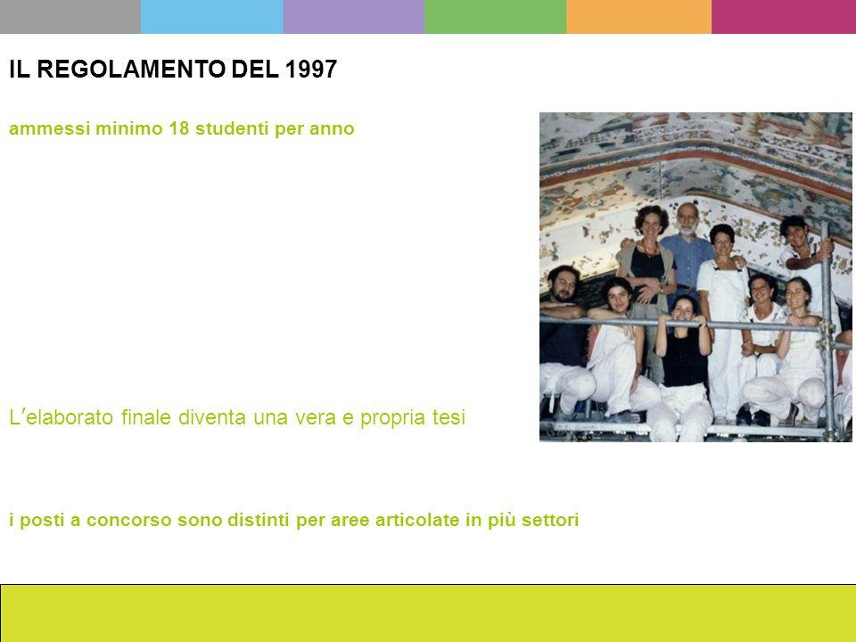 La scuola dellISCR da Cesare Brandi ad oggi Francesca Romana Mainieri IL REGOLAMENTO DEL 1997 i posti a concorso sono distinti per aree articolate in