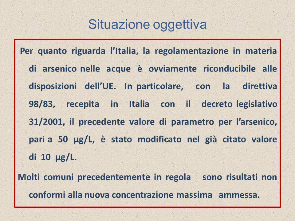 Situazione oggettiva Per quanto riguarda lItalia, la regolamentazione in materia di arsenico nelle acque è ovviamente riconducibile alle disposizioni
