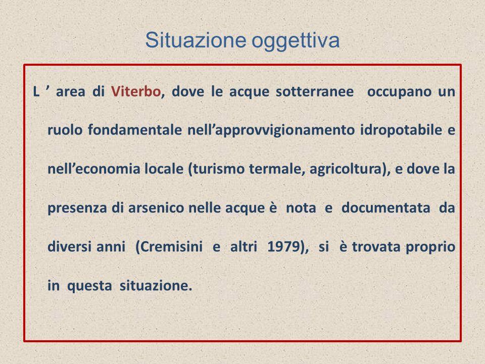 Situazione oggettiva L area di Viterbo, dove le acque sotterranee occupano un ruolo fondamentale nellapprovvigionamento idropotabile e nelleconomia lo