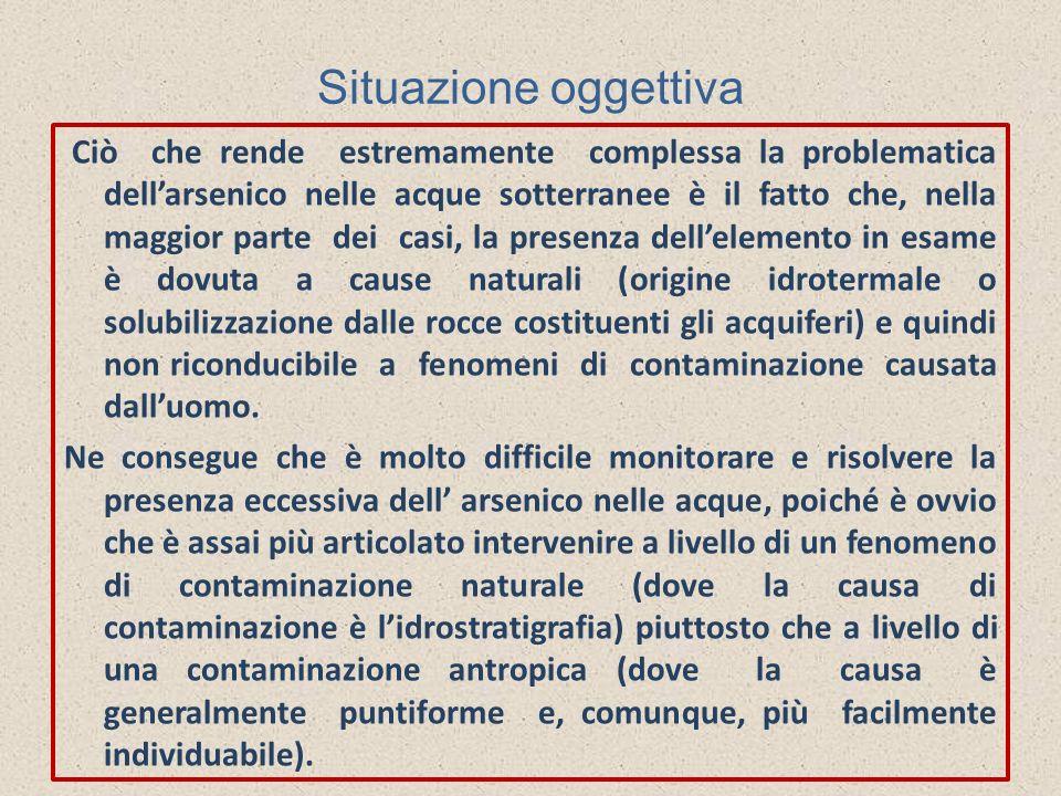Situazione oggettiva Ciò che rende estremamente complessa la problematica dellarsenico nelle acque sotterranee è il fatto che, nella maggior parte dei
