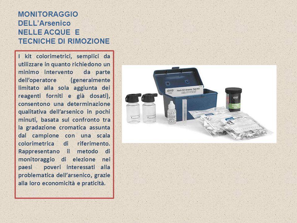 MONITORAGGIO DELLArsenico NELLE ACQUE E TECNICHE DI RIMOZIONE I kit colorimetrici, semplici da utilizzare in quanto richiedono un minimo intervento da