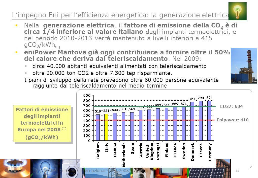 13 Nella generazione elettrica, il fattore di emissione della CO 2 è di circa 1/4 inferiore al valore italiano degli impianti termoelettrici, e nel periodo 2010-2013 verrà mantenuto a livelli inferiori a 415 gCO 2 /kWh eq eniPower Mantova già oggi contribuisce a fornire oltre il 50% del calore che deriva dal teleriscaldamento.