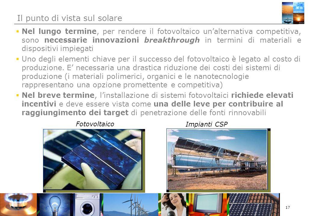 17 Nel lungo termine, per rendere il fotovoltaico unalternativa competitiva, sono necessarie innovazioni breakthrough in termini di materiali e dispositivi impiegati Uno degli elementi chiave per il successo del fotovoltaico è legato al costo di produzione.