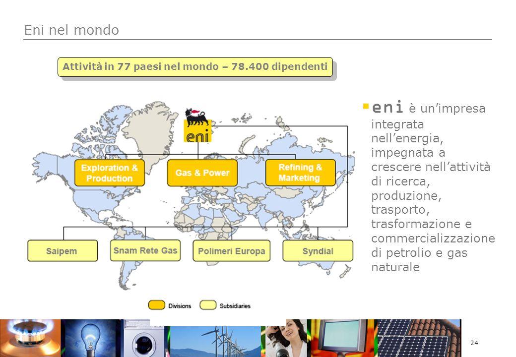 24 Eni nel mondo eni è unimpresa integrata nellenergia, impegnata a crescere nellattività di ricerca, produzione, trasporto, trasformazione e commercializzazione di petrolio e gas naturale Attività in 77 paesi nel mondo – 78.400 dipendenti