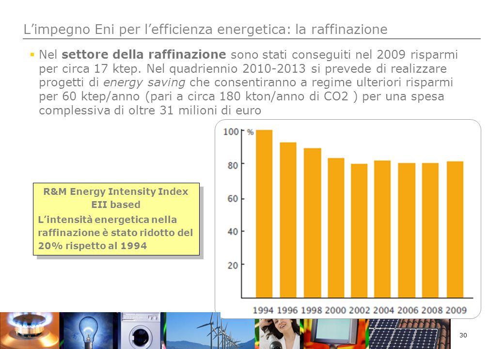 30 Nel settore della raffinazione sono stati conseguiti nel 2009 risparmi per circa 17 ktep.