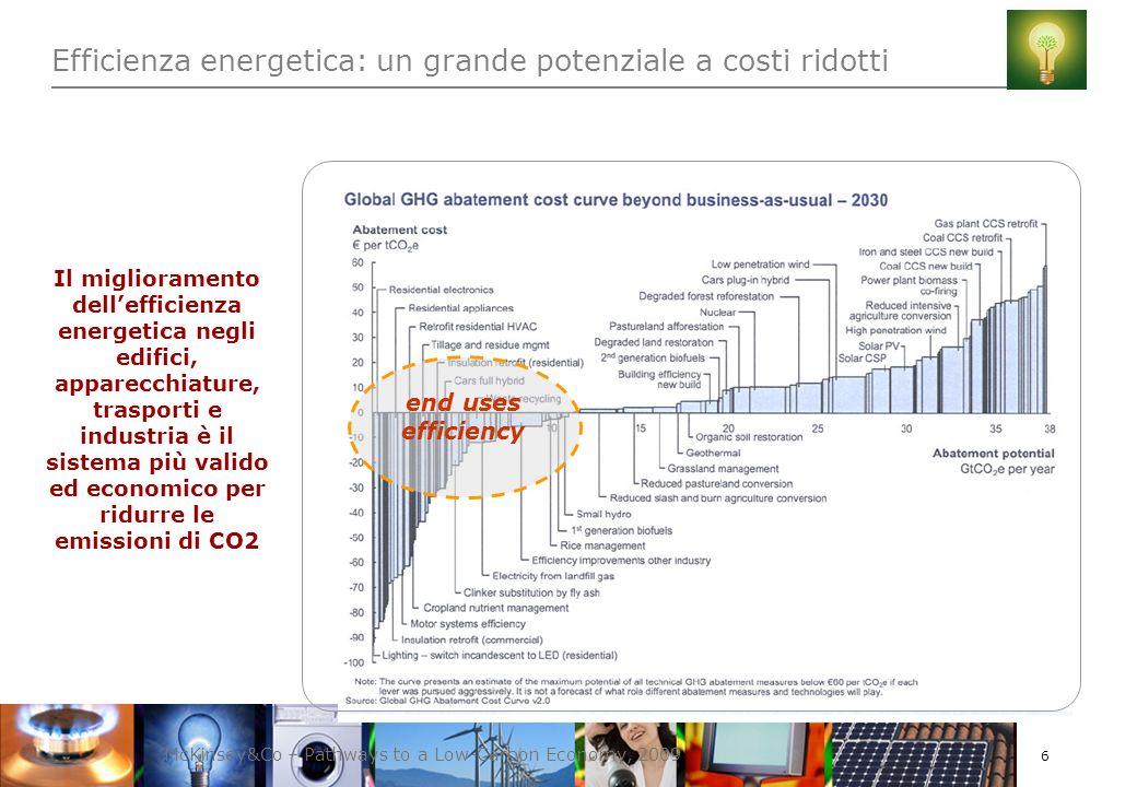 7 Due strade per ridurre i consumi energetici Efficienza Energetica Il miglioramento dellefficienza energetica consente di ridurre lenergia usata per una dato servizio Es: -produrre più energia elettrica dalla stessa quantità di combustibile grazie a un impianto moderno ed efficiente -utilizzare auto con bassi consumi di carburante (sostituire il parco auto degli Stati Uniti con quello utilizzato in Europa genererebbe un risparmio di 4 milioni di barili di petrolio ogni giorno) Risparmio energetico Evitare gli sprechi attraverso ladozione di comportamenti responsabili Es: ridurre di 1°C la temperatura delle nostre case consente di risparmiare fino al 10% dellenergia necessaria per il riscaldamento