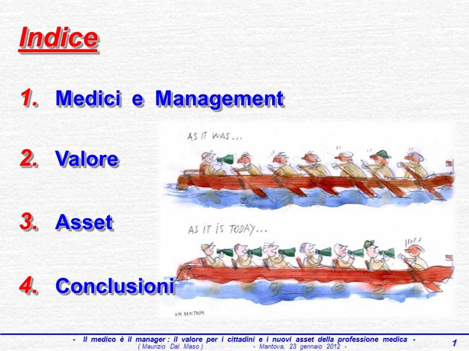 1 - Il medico è il manager : il valore per i cittadini e i nuovi asset della professione medica - - Il medico è il manager : il valore per i cittadini e i nuovi asset della professione medica - ( Maurizio Dal Maso ) - Mantova, 23 gennaio 2012 - Indice 1.