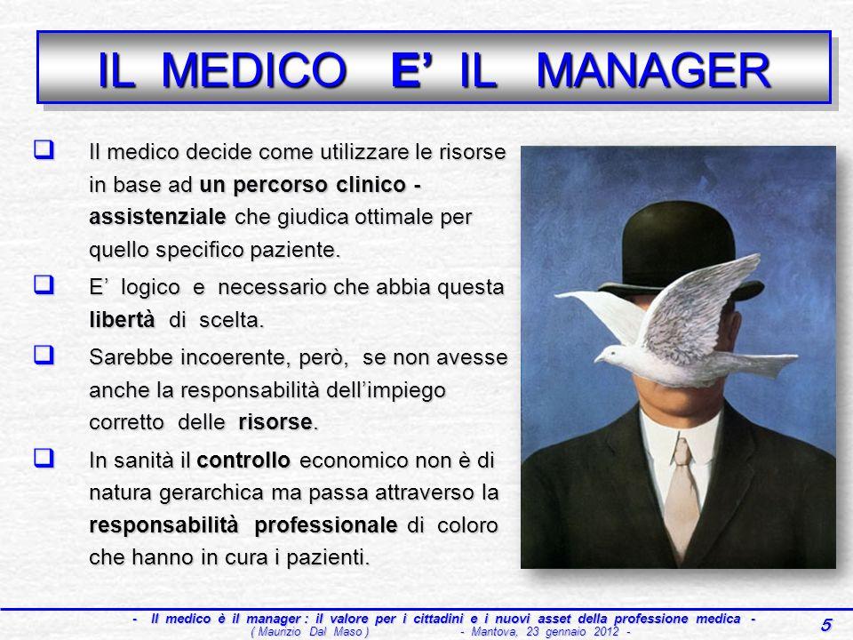 16 - Il medico è il manager : il valore per i cittadini e i nuovi asset della professione medica - - Il medico è il manager : il valore per i cittadini e i nuovi asset della professione medica - ( Maurizio Dal Maso ) - Mantova, 23 gennaio 2012 - HTA EBM QUALITA QUALITA CLINICAL CLINICAL GOVERNANCE PROJECT PROJECTMANAGEMENT A A ppropriatezza S S ostenibilità S S istema I I nnovazione A A ppropriatezza S S ostenibilità S S istema I I nnovazione SSN prossimo futuro : i 4 assi