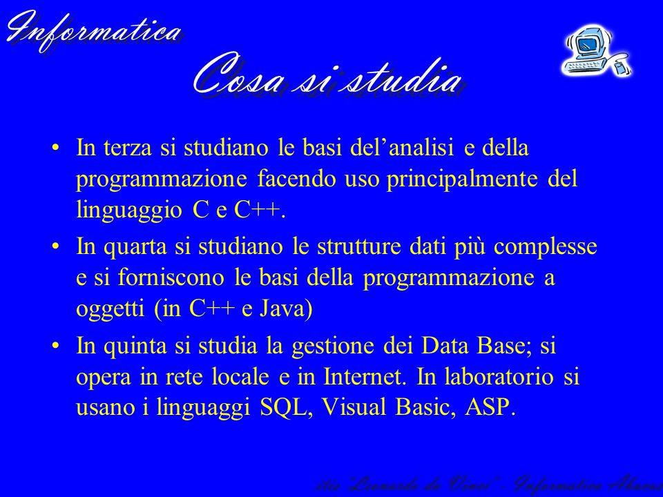 In terza si studiano le basi delanalisi e della programmazione facendo uso principalmente del linguaggio C e C++. In quarta si studiano le strutture d