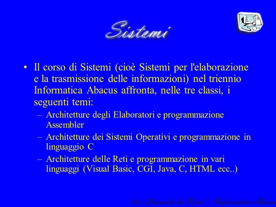 Il corso di Sistemi (cioè Sistemi per l'elaborazione e la trasmissione delle informazioni) nel triennio Informatica Abacus affronta, nelle tre classi,